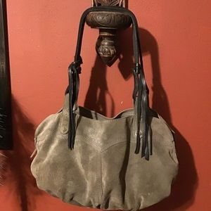 Lucky Brand Green Suede Fringed Hobo